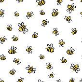 Cute seamless bee pattern vector