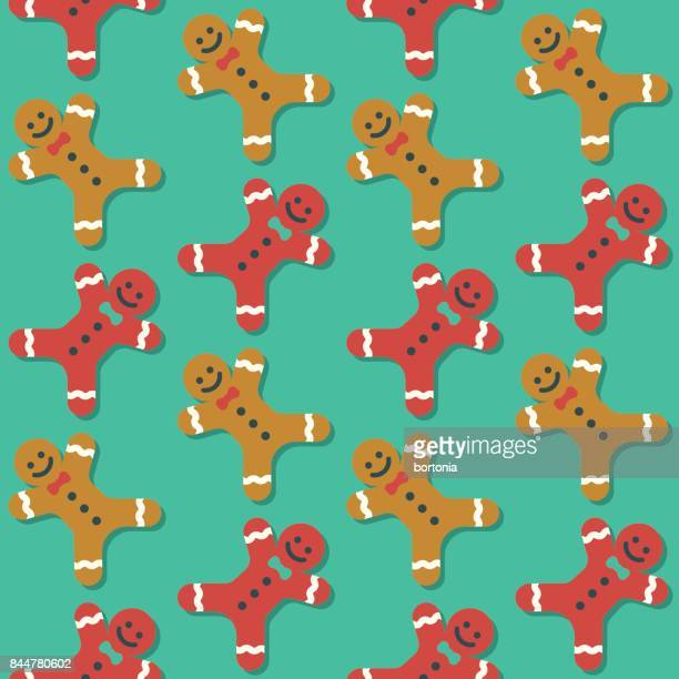 cute seamless christmas gingerbread men pattern - gingerbread man stock illustrations