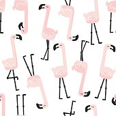 Cute seamless flamingo pattern for kids, baby apparel, fabric, textile, wallpaper, bedding, swaddles with unicorn, Scandinavian style for clothes, swaddles, apparel, planner, sticker