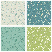 Cute seamless floral pattern with leaves branches