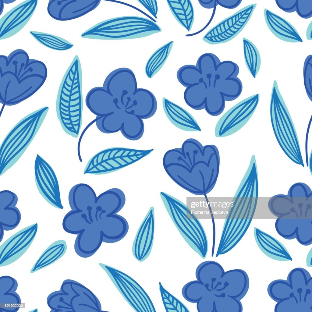 Cute Seamless Handdrawn Floral Pattern With Blue Flowers On White