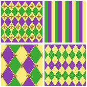 Cute seamless Mardi Gras pattern in trraditional colors