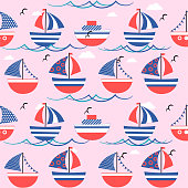 Cute seamless pattern, background with colored boats. Vector illustration
