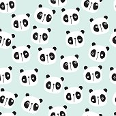 Cute seamless pattern for kids products, with animals, panda, bear, for wallpaper, fabric, apparel, clothes, toys, baby swaddles. Scandinavian style in vector