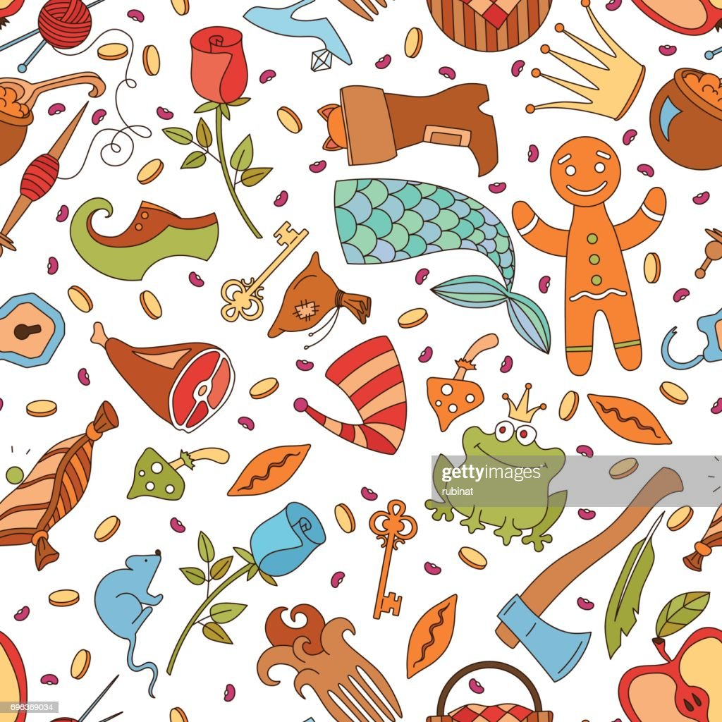 Cute seamless pattern made of fairy tale cartoon elements.
