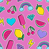 Cute seamless pattern with colorful patches. Stickers of ice cream, cherry, watermelon, rainbow lemon diamonds etc.
