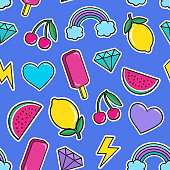 Cute seamless pattern with colorful patches. Stickers of ice cream, cherry, watermelon, rainbow lemon diamonds etc on blue background.