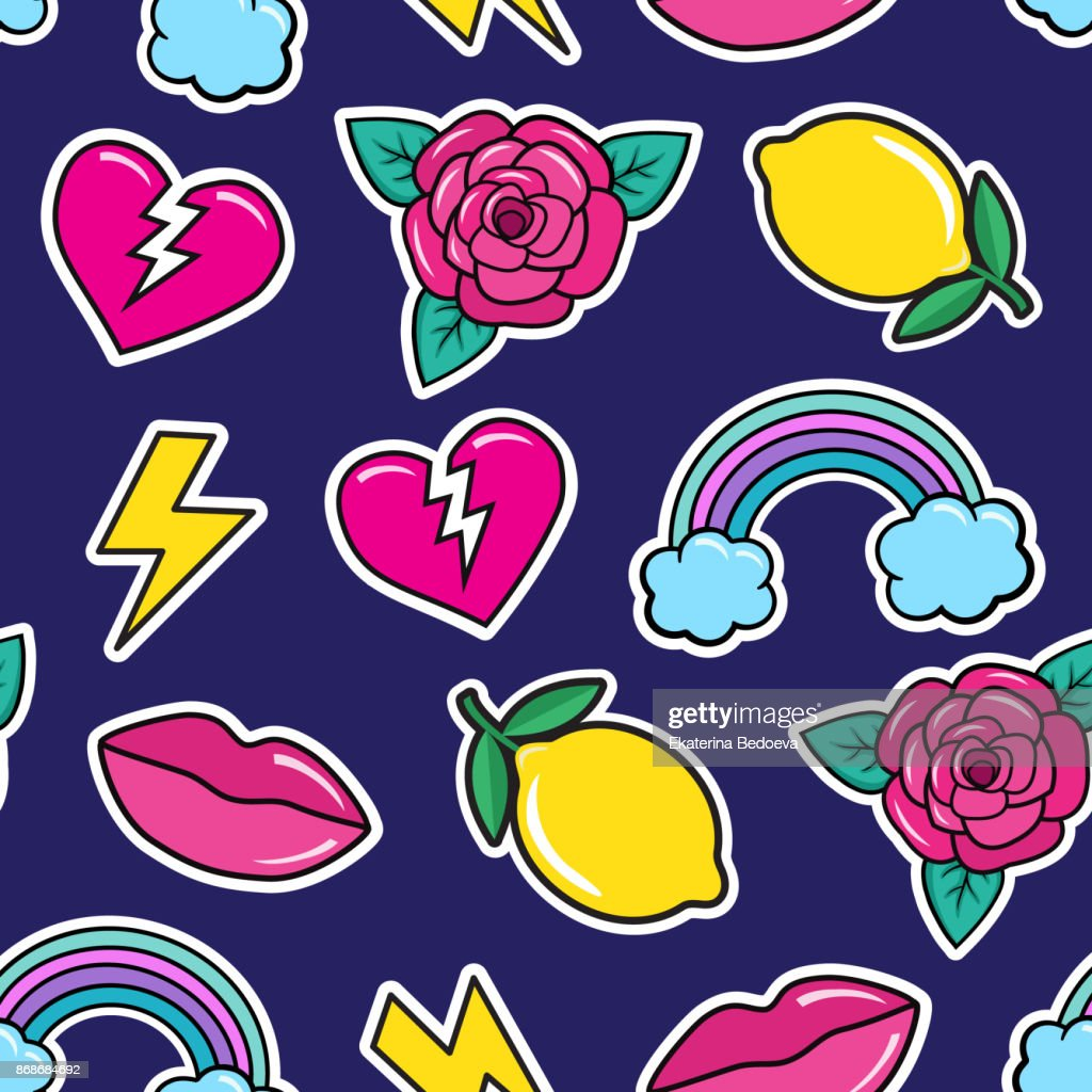 Cute seamless pattern with colorful patches. Stickers of rose, lemon, lips, rainbow, broken heart, lightning etc on blue background.
