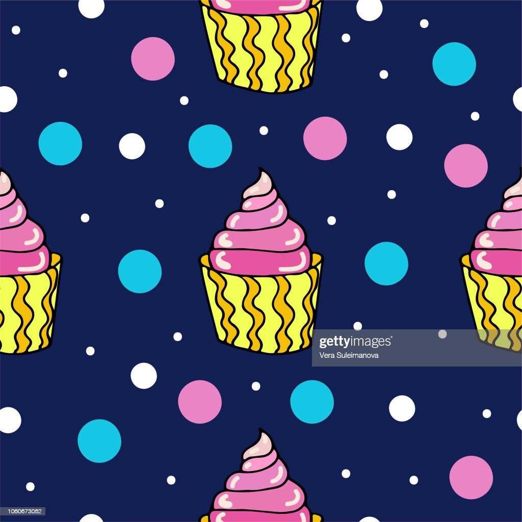 Cute seamless pattern with  cupcake