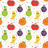 Cute seamless pattern with happy fruits