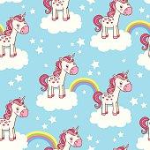 Cute seamless pattern with unicorn.