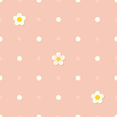 Cute seamless pink flat background with polka dot pattern and white flowers. Children's bedroom, kids nursery decorative wallpaper. Cloth texture. Gift wrapping. Vintage colors. Vector Illustration.