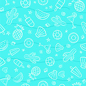 Cute seamless summer pattern with summer elements including hand-drawn illustration seamless pattern background vector format