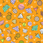 Cute seamless summer pattern with summer elements including sea wave, pineapple, cocktails, cactus, icecream, sea shell, watermelon, hand-drawn illustration seamless pattern background vector format
