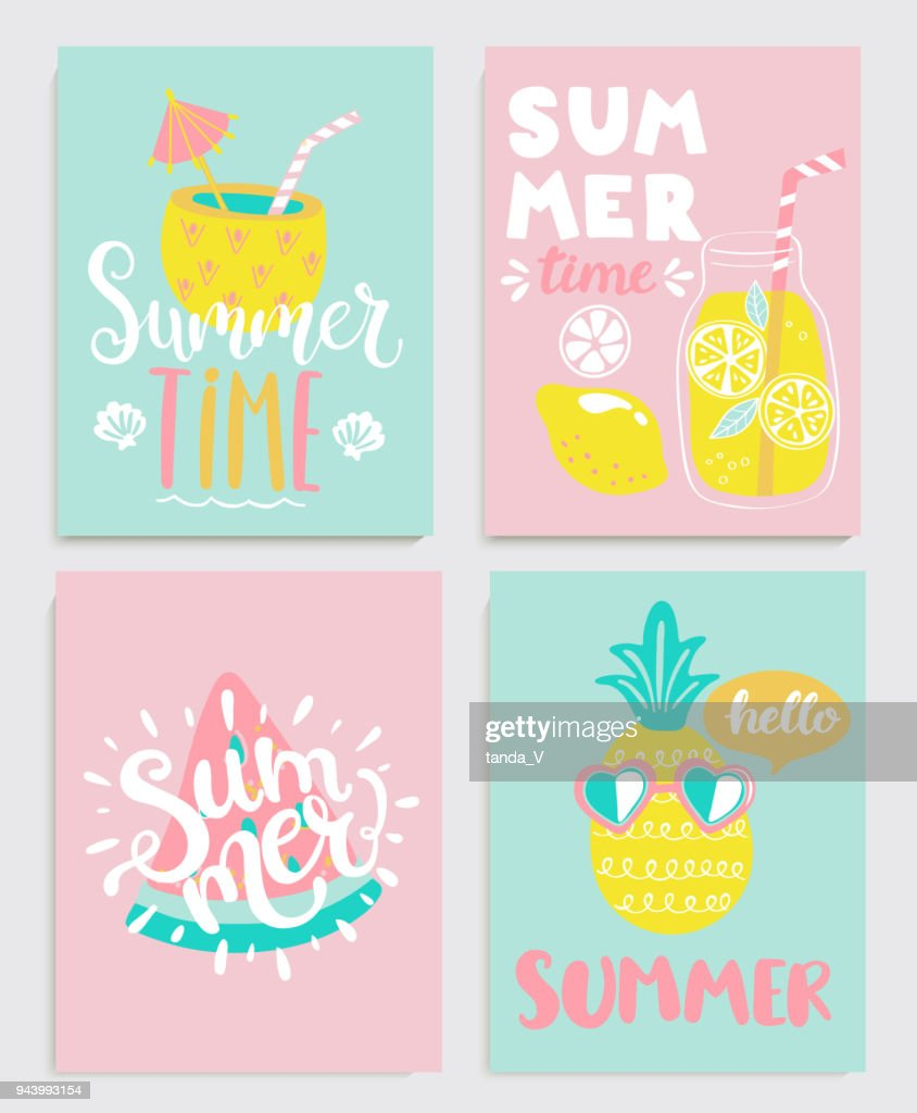 Cute set of bright summer cards.