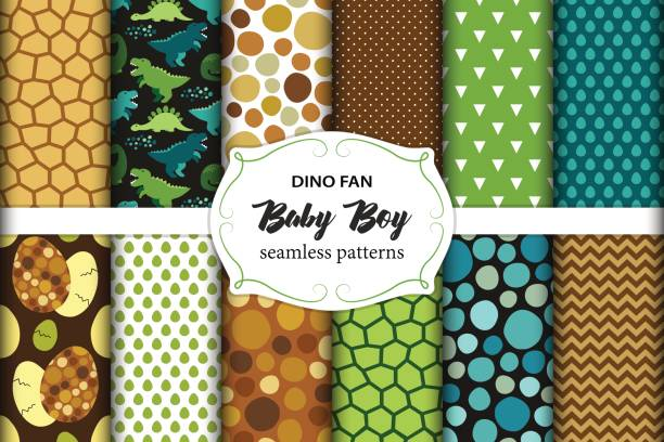 Cute Set Of Childish Seamless Patterns With Dinosaurs Ideal For Fabrics Wallpaper And Different Surfaces Baby