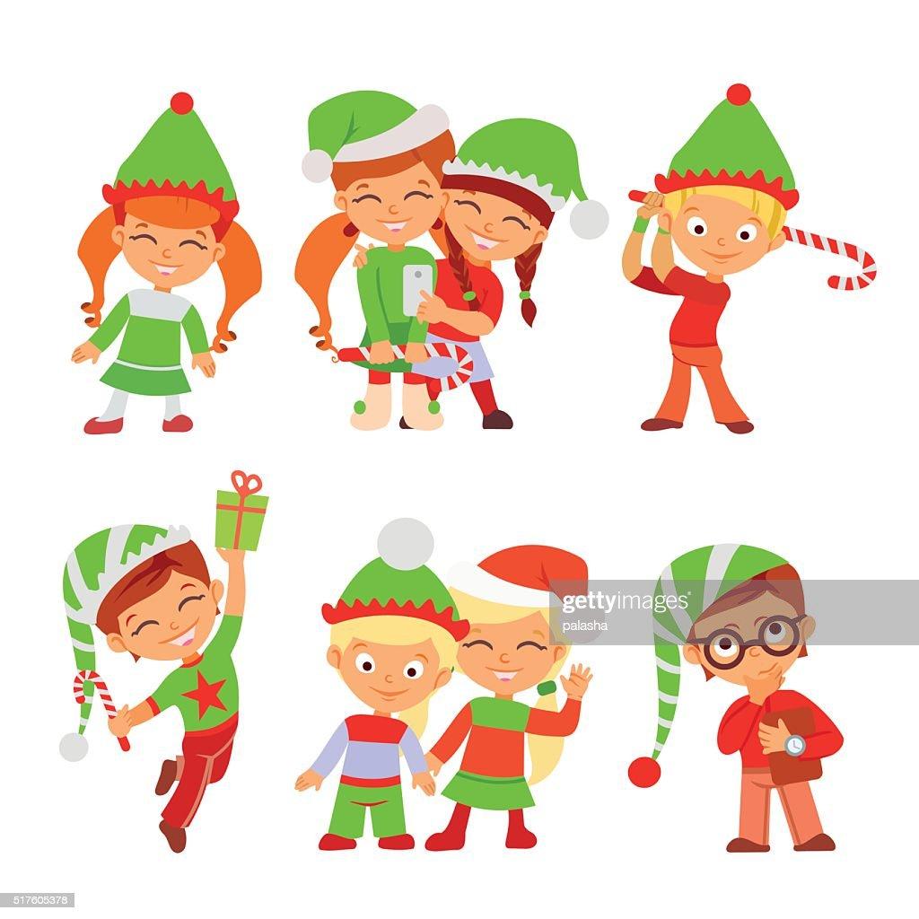 Cute Set Of Christmas Elves Making Christmas Gifts Vector Art ...