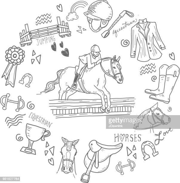 cute set of hand drawn equestrian horse rider elements - horseback riding stock illustrations, clip art, cartoons, & icons