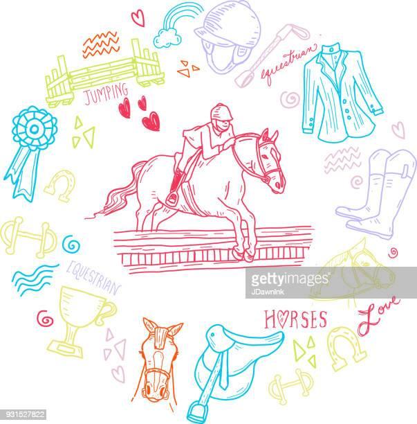 Lindo conjunto de elementos de jinete ecuestre caballo dibujado a mano