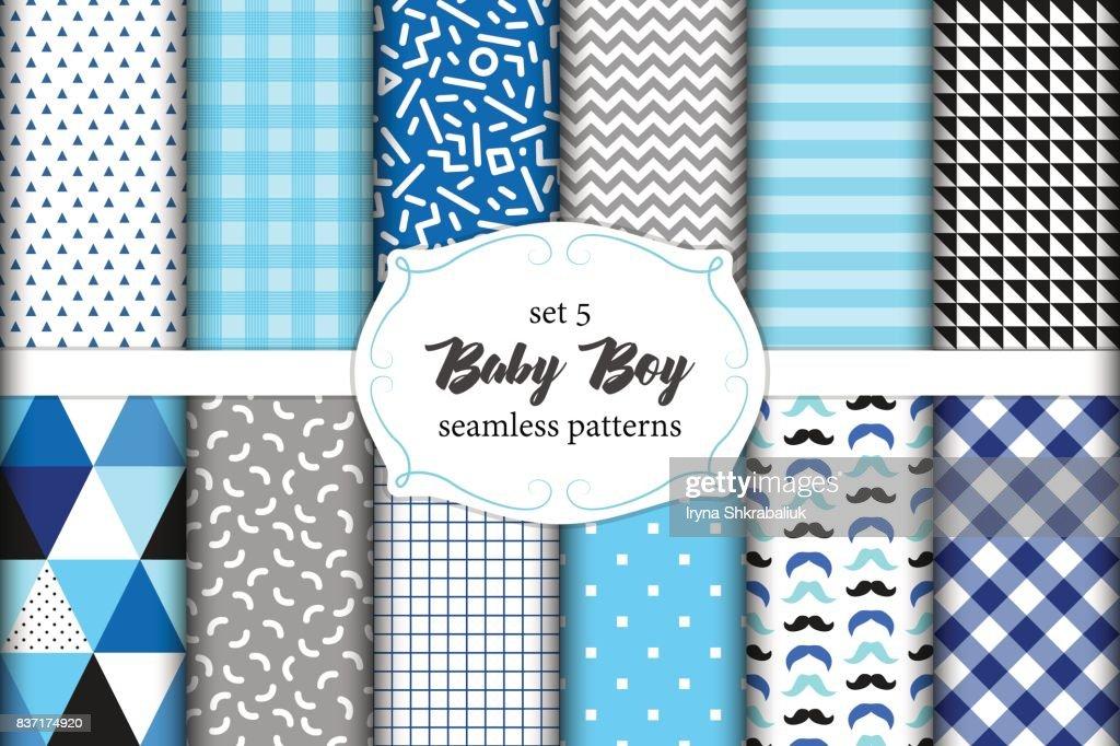 b5a447a05c04 Cute Set Of Scandinavian Baby Boy Seamless Patterns With Fabric ...