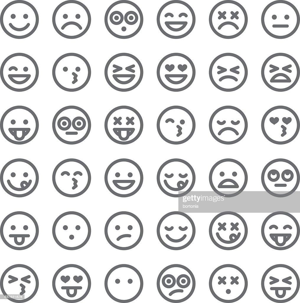 Cute Set of Simple Emojis : stock vector