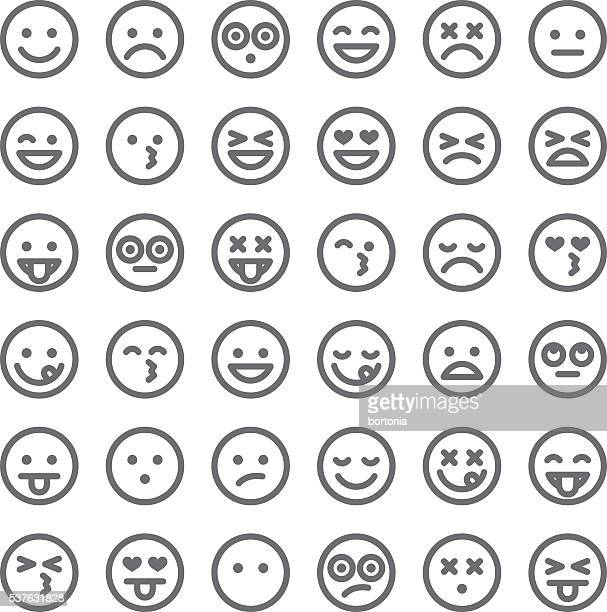 cute set of simple emojis - anger stock illustrations