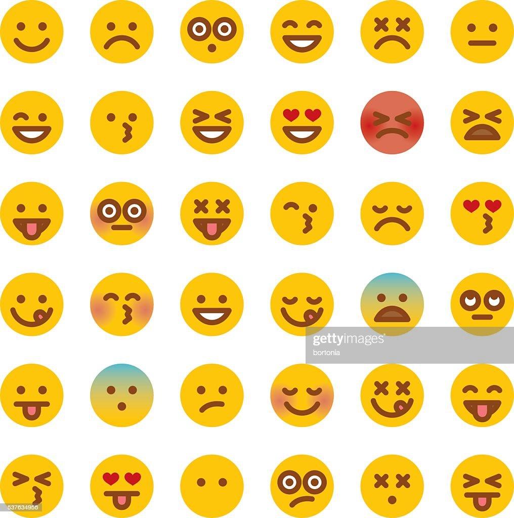 Graziosa Gruppo di semplice Emoji : Illustrazione stock