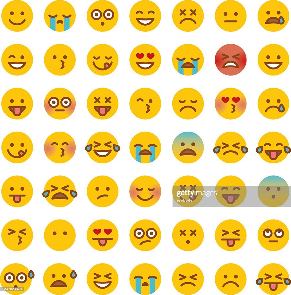 Cute Set of Simple Emojis : stock vector