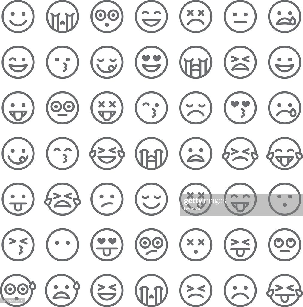 Cute Set of Simple Emojis : stock illustration