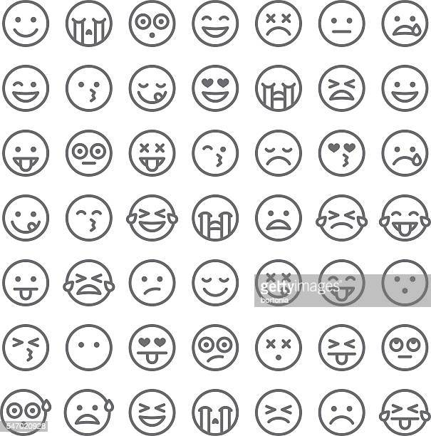 cute set of simple emojis - line art stock illustrations