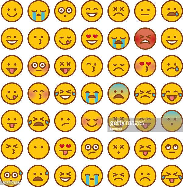 cute set of simple emojis - smiling stock illustrations