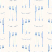Cute set of spoon, knife and fork illustration