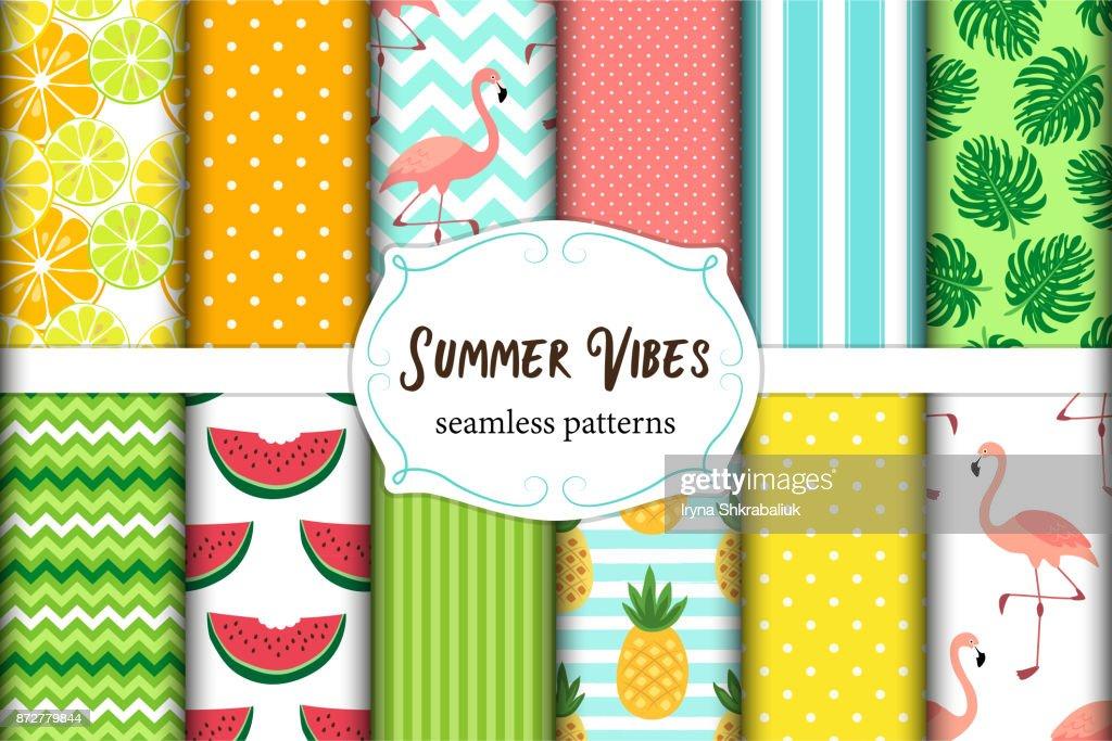 Cute set of Summer Vibes seamless patterns. Vector illustration.