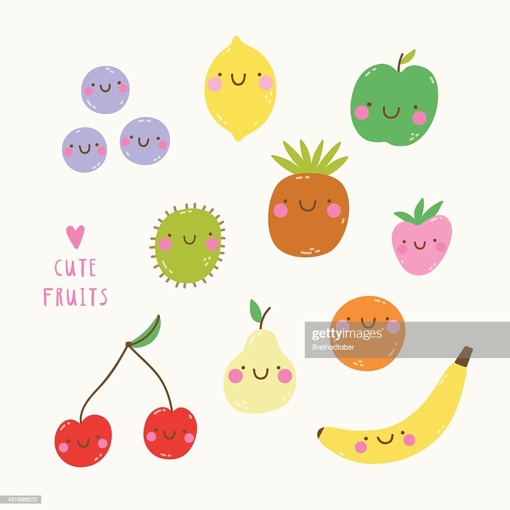 Cute set with smiley fruits in cartoon style.