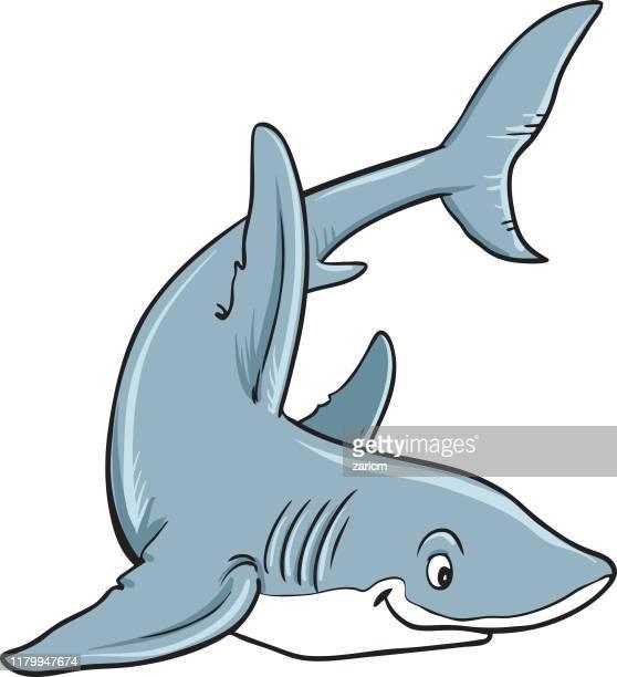 cute shark cartoon, mascot. - cartoon characters with big teeth stock illustrations