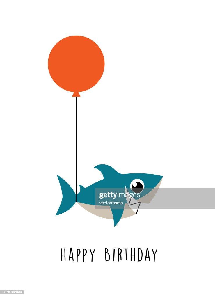 cute shark happy birthday greeting card vector