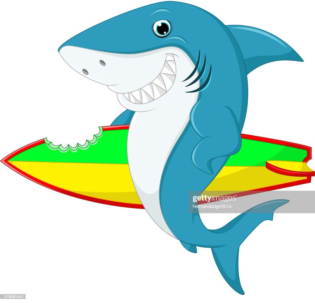 Cute shark surfing cartoon