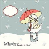 Cute sheep girl with umbrella .Winter doodle
