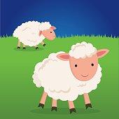 Cute sheep smiling.
