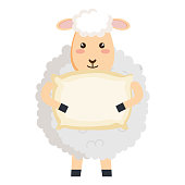 cute sheep with pillow character icon