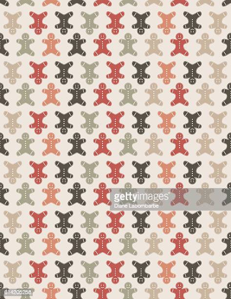 cute silhouettes christmas pattern background - gingerbread man stock illustrations