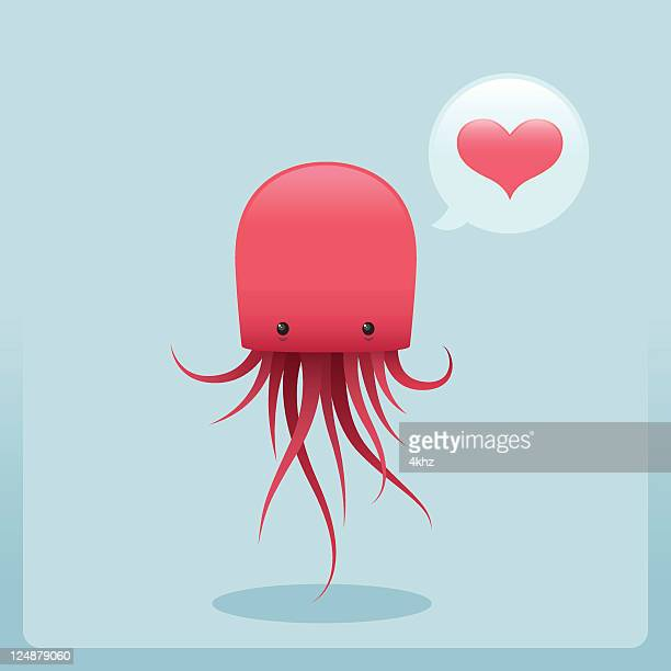 Cute Simple Jellyfish Character With Love