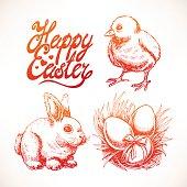 cute sketch Easter set