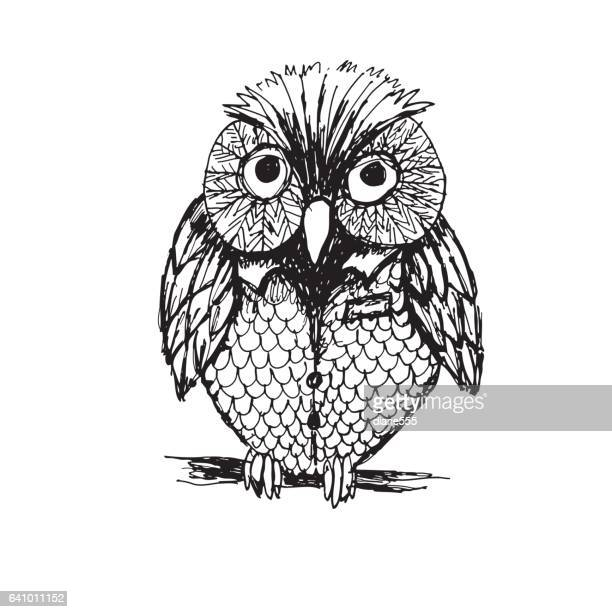 cute sketchy owl - owl stock illustrations, clip art, cartoons, & icons