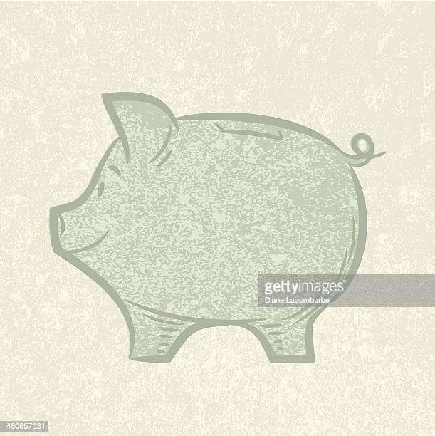 ilustrações, clipart, desenhos animados e ícones de linda esboço piggy bank - editorial