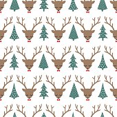 Cute sleeping deers with bows and Xmas Trees seamless pattern