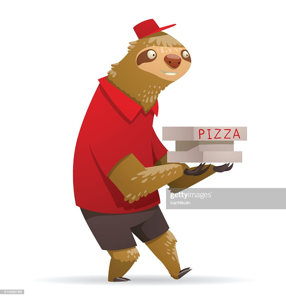 Cute sloth with boxes of pizza