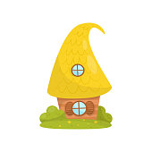 Cute small house with yellow roof, fairytale fantasy house for gnome, dwarf or elf vector Illustration on a white background