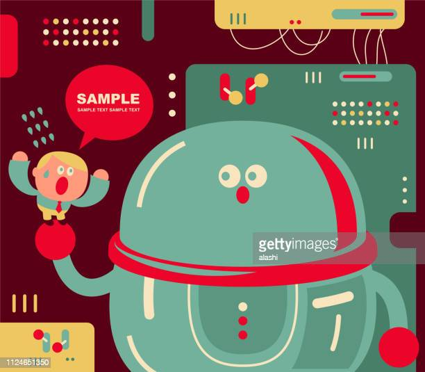 cute small office worker and giant artificial intelligence robot - missing link 2019 film stock illustrations