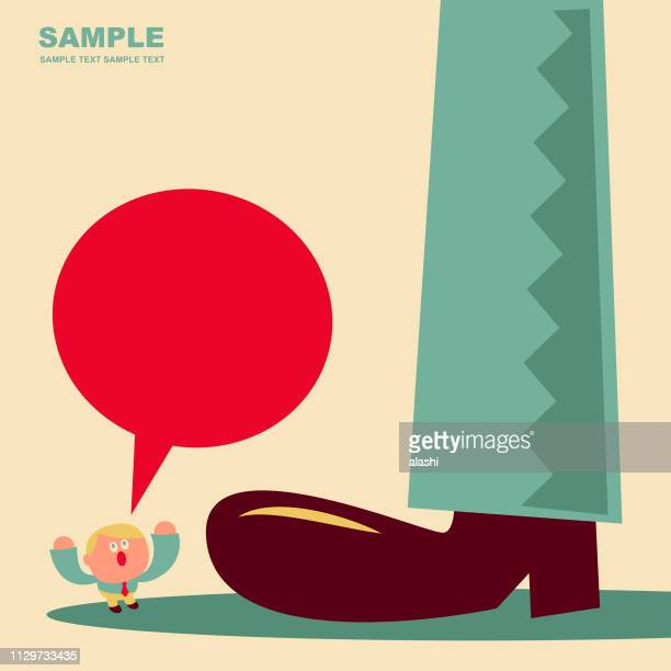 cute small office worker standing in front of a big foot - unfairness stock illustrations